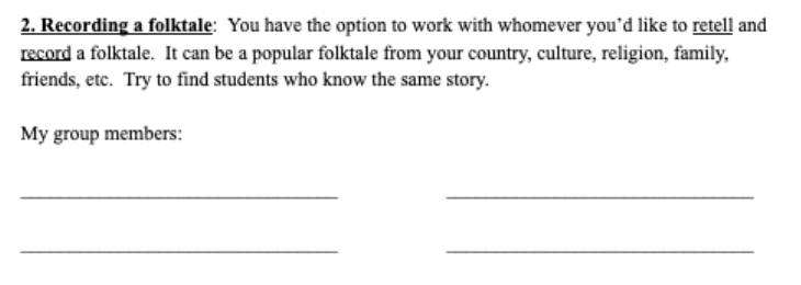 section of worksheet where students are prompted to choose groups